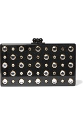 Edie Parker Jean Embellished Glittered Acrylic Box Clutch Black
