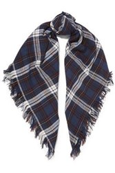 Maje Envie Checked Cotton Scarf Midnight Blue