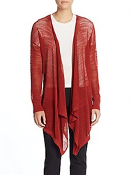 Dkny Mesh Open Front Knit Cardigan Red