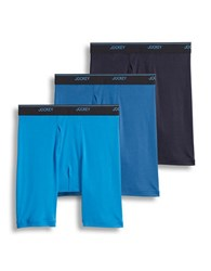 Jockey Essential Fit Midway Brief Pack Of Three Blue Assorted