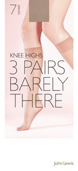 John Lewis 7 Denier Barely There Knee Highs Pack Of 3 Nude