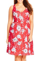 Plus Size Women's City Chic 'Floral Sketch' Halter Style Fit And Flare Dress
