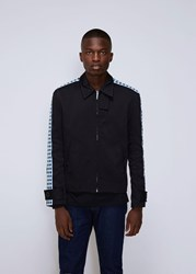 Wales Bonner Classic Zip Jacket With Knit Tape Navy Aqua Check