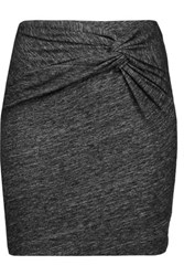Iro Lousa Twisted Stretch Cotton Blend Mini Skirt Charcoal