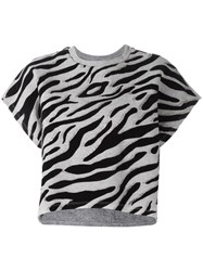 Giamba Sleeveless Animal Print Sweatshirt Grey