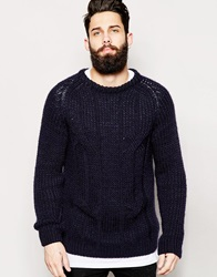 Asos Cable Jumper Navy