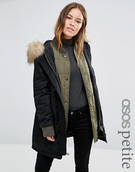 Asos Petite 3 In 1 Parka With Ribbed Collar Black Green