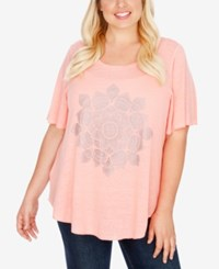 Lucky Brand Trendy Plus Size Studded Lotus T Shirt Shell Pink