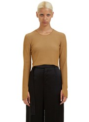 Calvin Klein Bao Ribbed Knit Cropped Sweater Beige