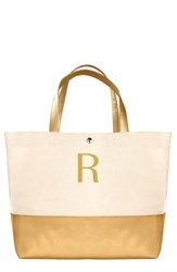 Cathy's Concepts Monogram Canvas Tote Yellow Gold