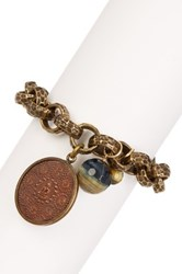 Vivian Tamayo Buddha Blue And Yellow Tiger Eye Bracelet Brown