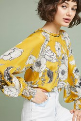 Vineet Bahl Giovanna Silk Blouse Yellow Motif