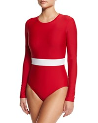 Cover Upf 50 Long Sleeve Waist Stripe One Piece Swimsuit Red White Stripe