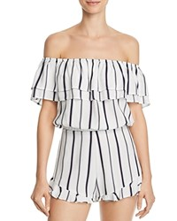 Blu Pepper Striped Off The Shoulder Cropped Top White Navy Stripe