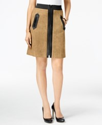 Eci Faux Suede Mixed Media A Line Skirt Tan Black Pleather