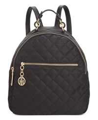 Tommy Hilfiger Isabella Quilted Nylon Dome Backpack Black