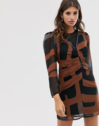 Religion Ruched Front Mini Dress In Abstract Print Black