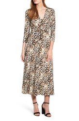 Chaus Leopard Faux Wrap Maxi Dress Antiq White