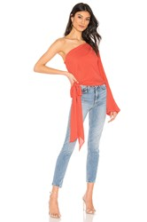 Krisa One Shoulder Tie Top Orange
