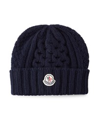 Cable Knit Cashmere Beanie Hat Navy Moncler