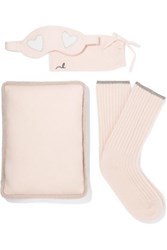 Morgan Lane Sleepy Lurex Trimmed Cashmere Gift Set Beige