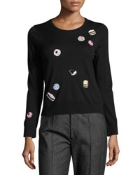 Marc Jacobs Candy Embellished Merino Wool Crewneck Sweater Black
