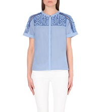 Karen Millen Embroidered Sheer Back Top Blue