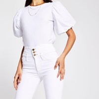 River Island White Button Hailey High Rise Skinny Jeans