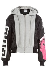 Moschino Bomber Jacket With Jersey And Knit Detail Multicolor