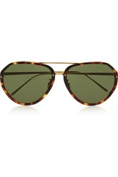 Linda Farrow Aviator Style Acetate And Gold Plated Sunglasses