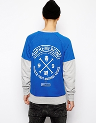 Supreme Being Supremebeing Raglan Sweatshirt With Back Print Blue