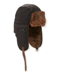 Penguin Oscar Waxed Trapper Hat Black