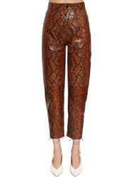 Attico Snake Printed Leather Pants Brown Piton