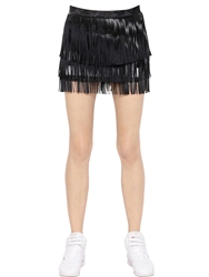 Nepal Downtown Faux Leather Fringe On Viscose Skirt Black