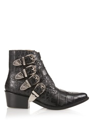 Toga Buckle Crocodile Effect Leather Boots