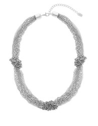 Steve Madden Cable Chain Knot Station Necklace Silver