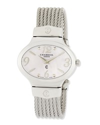 Charriol Darling Stainless Steel And Pink Mother Of Pearl Micro Cable Bracelet Watch Silver