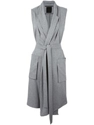 Lost And Found Ria Dunn Sleeveless Belted Coat Grey