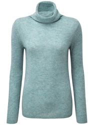 Pure Collection Lola Cashmere Polo Neck Jumper Blue Frost