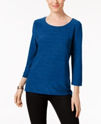 Jm Collection Jacquard Top Only At Macy's Blue Steel