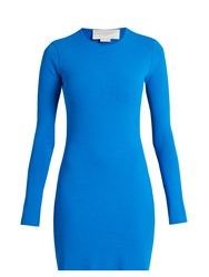 Esteban Cortazar Cut Out Back Crepe Knit Dress Blue