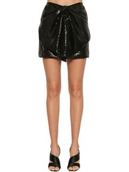 Ingie Paris Sequined Draped Mini Skirt Black