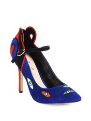 Isa Tapia Barcelona Embroidered Suede Mary Jane Pumps Blue Multi