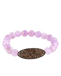 Bavna Amethyst And Diamond Beaded Stretch Bracelet
