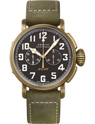 Zenith 29.2430.4069 21.C800 Pilot Type 20 Chronograph Leather And Bronze Watch Green