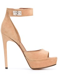 Givenchy Open Toe Sandals Women Leather Suede 39 Nude Neutrals