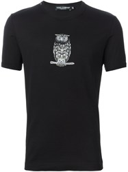 Dolce And Gabbana Embroidered Owl T Shirt Black