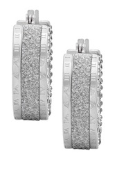 Stainless Steel Roman Numeral Cz Hoop Earrings No Color