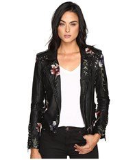 Blank Nyc Embroidered Floral Detail Studded Moto Jacket In As You Wish As You Wish Women's Coat Green