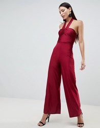 Ax Paris Cross Front Culotte Jumpsuit Red